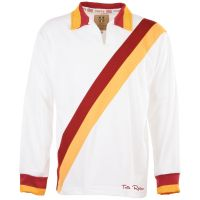 TOFFS Retro White Long Sleeve Shirt With Maroon/Amber Tape