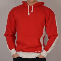 Vintage Style Menswear UK 1920s, 1930s, 1940s, 1950s, 1960s, 1970s Toffs Retro Red Hoodie White Sleeve Panels £40.00 AT vintagedancer.com