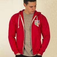 British & Irish Lions 1970s Vintage Rugby Zipped Hoodie Red