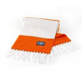 Orange & White Deluxe Cashmere Bar Scarf