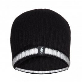 Black & White Cashmere Beanie Hat