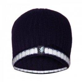 Navy & White Cashmere Beanie Hat