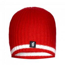 Red & White Cashmere Beanie Hat