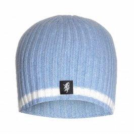 Sky & White Cashmere Beanie Hat