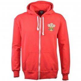 Wales 1972 Vintage Rugby Zipped Hoodie -  Red