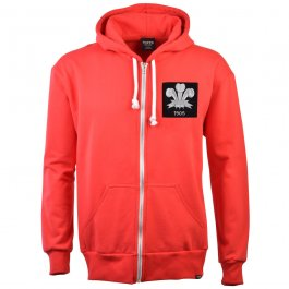 Wales Feathers 1905 Vintage Zipped Hoodie - Red