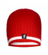 Red & White Cashmere Beanie Hat