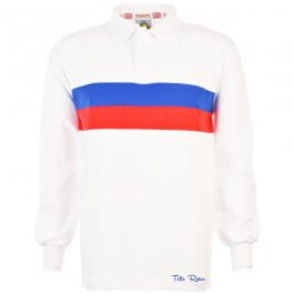 TOFFS Retro White Long Sleeve Shirt With Royal/Red Stripe