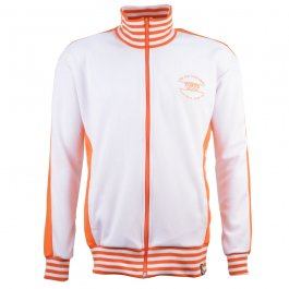 The Old Fashioned Football Shirt Co.- White/Orange Track Top - Made to order - Lead Time - 4 weeks