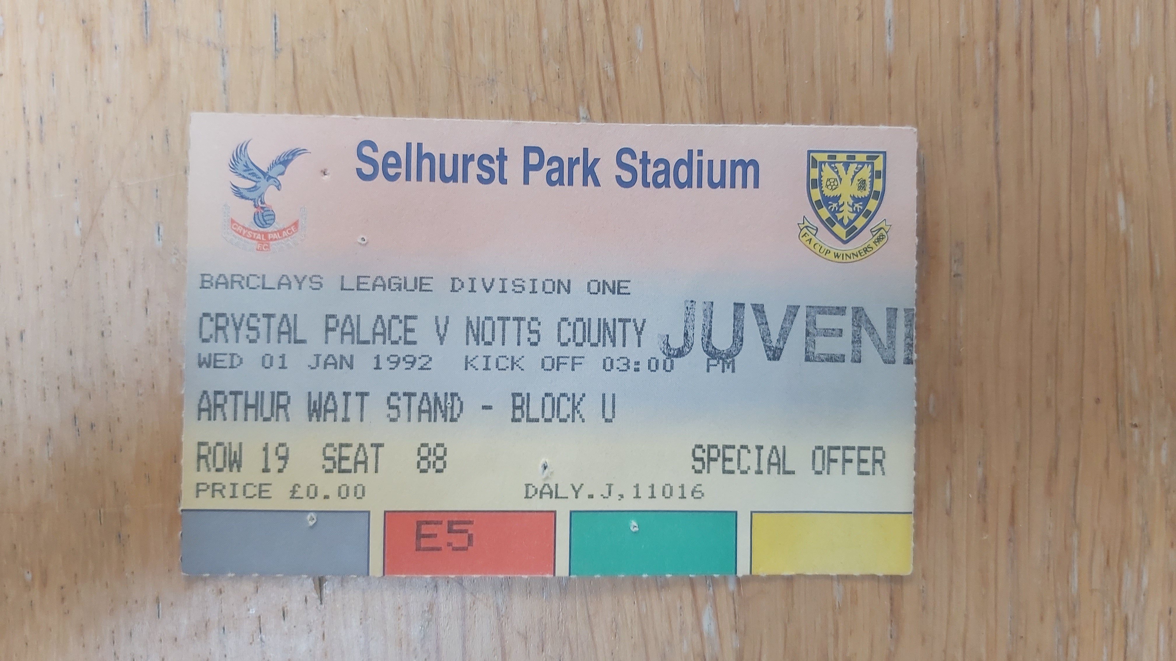 Crystal Palace vs Notts County ticket stub